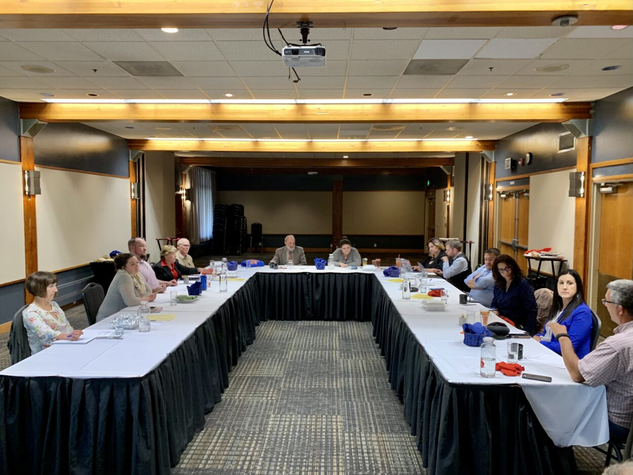 Members of the Ketchikan Gateway Borough School District Board of Education meet with members of Ketchikan Indian Community's Tribal Council during a government-to-government consultation on Wendnesday.
